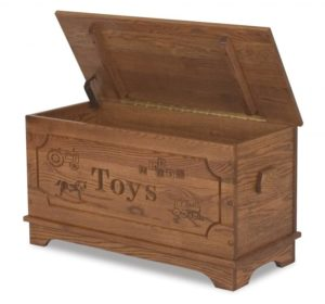 A & J - Toy Box - Dimensions: 34.25 inches w x 15.25 inches d x 18.75 inches h, 11 inches Storage Area