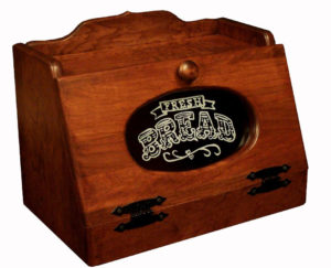 SUPERIOR WOODCRAFTS - Cherry Glass Front Breadbox - Dimensions (In inches): 15.5 x 10 x 12