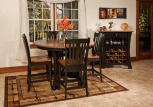 "WEST POINT - Arts and Crafts Pub Table and Lexington Chairs Collection - Table Dimensions: 48"" round, 54"" round, 60"" round or 72"" with up to 3 leaves - All pieces sold separately - Custom finish options available, please call store for details."