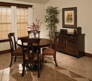 "WEST POINT - Chancellor Table and Brookfield Chairs Collection - Table Dimensions: 48"" or 54"" round with up to 2 leaves - All pieces sold separately - Custom finish options available, please see store for details."