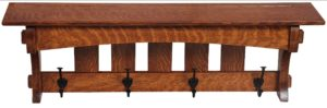 SUPERIOR WOODCRAFTS - Aspen Shelf w/ Hooks - Dimensions (in inches): 36 x 8 x 12.