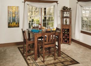 WEST POINT - Madison Pub Table and Lodge Side Chairs Collection - Table Dimensions (in inches): 36x36, 42x42, 48x48, 54x54, or 60x60 with up to 4 leaves - All pieces sold separately - Custom finish options available, please see store for details.
