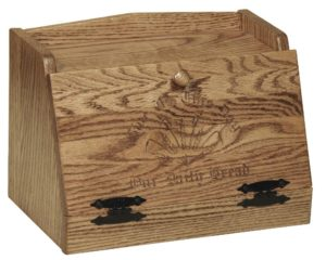 SUPERIOR WOODCRAFTS - Wheat Carving and message Breadbox: Dimensions (In inches): 15.5 x 10 x 12