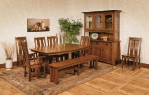 WEST POINT - Colebrook Trestle, Laurie Side Chairs, and Colebrook Bench Collection - Table Dimensions (in inches): 42x60, 42x66, 42x72, 48x60, 48x66, or 48x72 with up to 4 leaves - All pieces sold separately - Custom finish options available, please see store for details.