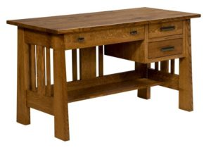 L & N - Open Freemont Mission Pedestal Desk - Dimensions (in inches): 54x26x31, 18 inch Drawers.