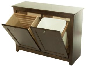 SUPERIOR WOODCRAFTS - Double Waste Bin or Hamper Tilt Out (W020855): Dimensions (in inches): 14.75d x 40.5w x 30.25h - Custom finish options available, please see store for details.