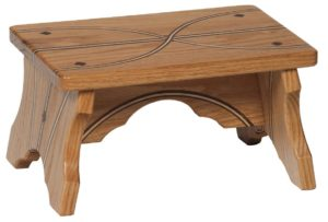 SUPERIOR WOODCRAFTS - Small Bench w/ Inlays - Dimensions (in inches): 12 x 8 x 7.