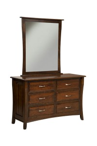 "OLD TOWN OAK - Berkley 6 Drawer Dresser w/ Mirror - Dimensions: Mirror: 40""w x43.5""h, Dresser only size: 56""w x 35""h x 21.5""d"