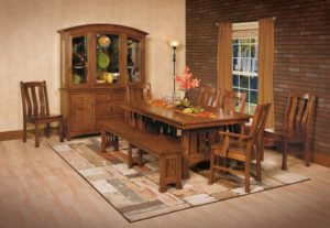 WEST POINT - Olde Century Trestle Table, Laurie Side Chairs, and Olde Century Bench Collection - Table Dimensions (in inches): 42x60, 42x66, 42x72, 48x60, 48x66, or 48x72 with up to 4 leaves -All pieces sold separately - Custom finish options available, please see store for details.