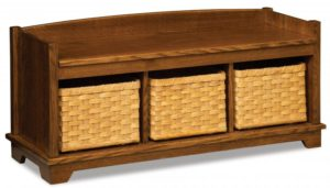 A & J - Lattice Weave Bench - Dimensions (in inches):48w x 16d x 21.5h, Baskets on Drawer Glides - Dimensions (in inches):14w x 13.25d x 9.25h.