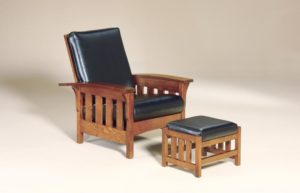 AJ's - Bow Arm Slat Morris Chair: 32.5w x 39d - 46d x 40h (solid bottom standard, springs optional), Bow Arm Slat Morris Footstool: 20w x 16d x 14.5h.