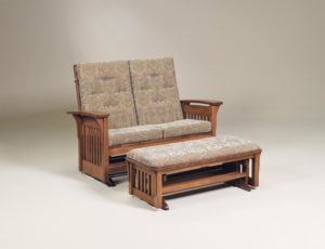 AJ's - Bow Arm Slat Loveseat Glider: 54w x 34d x 41h, Bow Arm Slat Loveseat Ottoman: 44w x 19.5d x 17h, (not shown) Bow Arm Panel Loveseat Glider: 54w x 34d x 41h, Bow Arm Panel Loveseat Ottoman: 44w x 19.5d x 17h.
