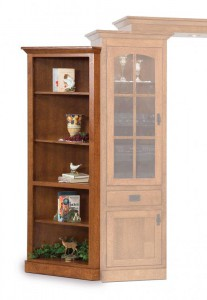 SCHWARTZ - Mission SC-Angled Bookcases - Dimensions (in inches): Mission or Heritage style 28w x 16.175d x 74.75h, Left or Right available Applies to any wall unit, Features 3 adjustable shelves, Measurement from corner 19.75 inches.