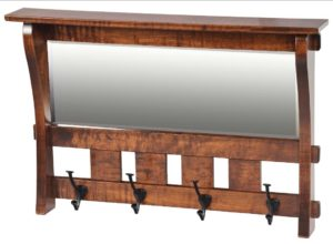 SUPERIOR WOODCRAFTS - Aspen Mirror w/ 4 Hooks - Dimensions (in inches): 28.25 x 4 x 18.
