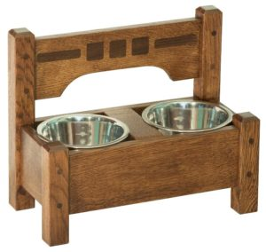 SUPERIOR WOODCRAFTS - San Marino Pet Dining Station - Dimensions (in inches): 16 x 8 x 13.5, 32 oz Bowls are included.