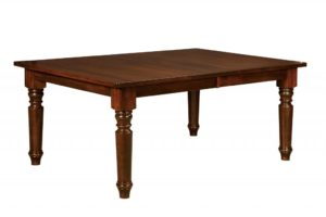 WEST POINT - Berkshire Leg Table - Dimensions (in inches): 42x60, 42x66, 42x72, 48x60, 48x66, and 48x72 inches with up to 4 leaves - Custom finish options available, please see store for details.
