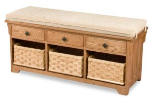 A & J - Lattice Weave Drawer Bench - Dimensions (in inches):48w x 16d x 22.5h, Baskets on Drawer Glides - Dimensions (in inches):13.5w x 13.5d x 7.5h.