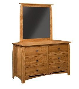 "OLD TOWN OAK - Linbergh 6 Drawer Dresser w/ Mirror - Dimensions: Dresser only size: 56""w x 35""h x 22""d"