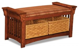 A & J - Mission Slat Bench - Dimensions (in inches):44.25w x 19d x 21h, Basket Size - Dimensions (in inches):16w x 19d x 6h.