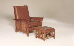 AJ's - Clear Spring Slat Morris Chair: 32.5w x 39d - 46d x 40h (solid bottom standard, springs optional),Clear Spring Slat Morris Footstool: 20w x 16d x 14.5h.