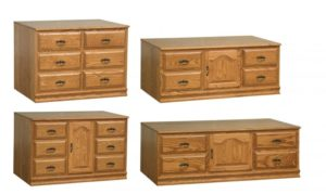 SCHWARTZ - Heritage Consoles - Dimensions:Top Right-SC-54 - Dimensions: 54w x 23.25d x 22.25h Bottom Left-SC-48 - Dimensions:48w x 23.25d x 30.25h, Bottom Right-SC-66 - Dimensions: 66w x 23.25d x 22.25h.
