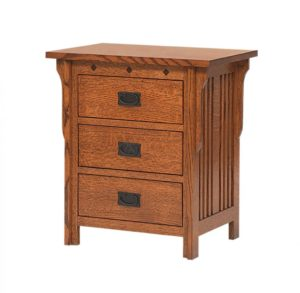 SCHWARTZ - Royal Mission Nightstand - Dimensions: 3 Drawer, 27w x 18d x 29.5h