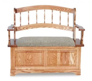 A & J - Country Spindle Upholstered Bench - Dimensions (in inches):36w x 19d x 35h, 13 inch Deep Storage.