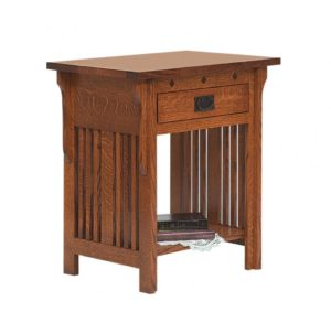 SCHWARTZ - Royal Mission Nightstand - Dimensions: 1 drawer, Open Slat, 27w x 18d x 29.5h