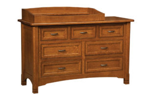 "OLD TOWN OAK - West Lake 7 Drawer Dresser w/ Box Top - Dimensions: Dresser only size: 56""w x 34""h x 22""d, Dresser with box top size 56""w x 40""h x 22""d"