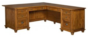 L & N - Belmont Corner Desk - Dimensions (in inches): Corner Desk-72x36x31, 26 inch Drawers, Return Desk-48x24x31, 20 inch Drawers, Corner Desk-72x32x31, 22 inch Drawers, Return Desk-48x24x31, 20 inch Drawers.