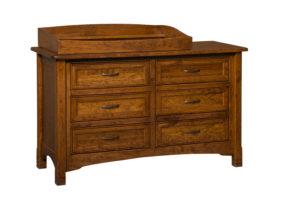"OLD TOWN OAK - West Lake 6 Drawer Dresser w/ Box Top - Dimensions: Dresser only size: 56""w x 34""h x 21.5""d, Dresser with box top size 56""w x 40""h x 21.5""d"