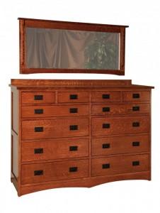 SCHWARTZ - Jacobson Dresser - Dimensions: 12 drawer, 66w x 21d x 48h Jacobson Mirror 57w x 27h
