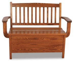 A & J - Low Back 12 Inch Mission Bench - Dimensions (in inches):38w seat x 18d x 36h, 46w Arm to Arm, 12 inch Storage, call store for additional sizes.