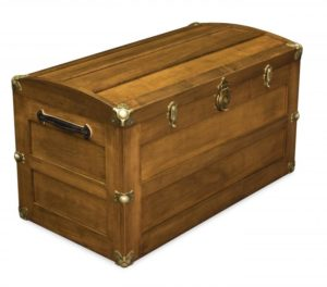 A & J - Round Lid Trunk - Dimensions (in inches): 38w x 20d x 22.5h, cedar bottom only.