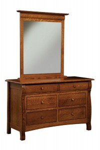 "OLD TOWN OAK - Castlebury 6 Drawer Dresser w/ Mirror - Dimensions: Dresser only size: 56""w x 35""h x 22""d, Mirror: 35"" x 44"""