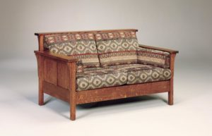 AJ's - High Back Panel Love Seat: 59w x 34.5d x 34h (solid bottom standard, springs optional).