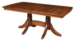 WEST POINT - Baytown Double Pedestal Table - Dimensions (in inches): 42x60, 42x66, 42x72, 48x60, 48x66, or 48x72 with up to 4 leaves - Custom finish options available, please see store for details.