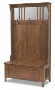 A & J - Rustic Hall Bench - Dimensions (in inches):40w x 18d x 72h, Mirror Size - Dimensions (in inches):12-5/8w x 36h.