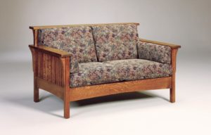 AJ's - High Back Slat Love Seat: 59w x 34.5d x 34h (solid bottom standard, springs optional).
