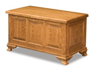 A & J - Triple Raised Cedar Chest - Dimensions (in inches): 38w x 19.5d x 21h, fully cedar lined.