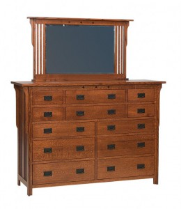 SCHWARTZ - Royal Mission Dresser - Dimensions: 12 drawers, 68w x 22d x 48h, Royal Mission Mirror: 53w x 31h