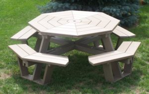 CREEKSIDE - Octagon Picnic Table - (OT805) Size: 5 feet, comes apart in three sections for transporting and storage.