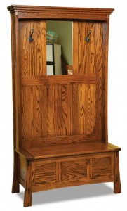 A & J - Shaker Hall Seat - Dimensions (in inches):40w x 18d x 72h, Mirror - Dimensions (in inches):12-5/8w x 36h.
