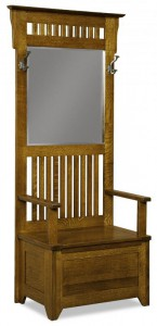 A & J - Classic Mission Hall Seat - Dimensions (in inches):30w x 19d x 77h, Beveled Mirror Size - Dimensions (in inches):18-7/16w x 26¾h.