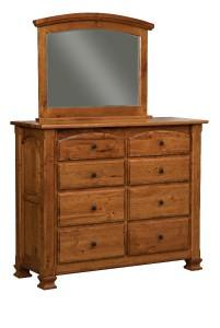 SCHWARTZ - Charleston Dresser - Dimensions: 8 drawer, 57w x 21.5d x 47h Mirror 40w x 33h
