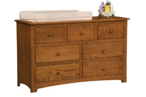 "OLD TOWN OAK - Monterey 7 Drawer Dresser - Dimensions: 56""w x 34""h x 19""d, shown with contoured changing pad"