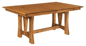 WEST POINT - Sierra Trestle Table - Dimensions (in inches): 42x60, 42x66, 42x72, 48x60, 48x66, or 48x72 with up to 4 leaves - Custom finish options available, please see store for details.