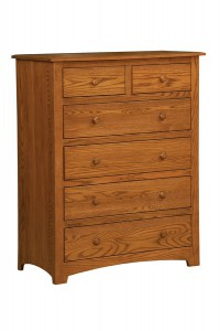 "OLD TOWN OAK - Monterey 6 Drawer Chest - Dimensions: 38""w x 48""h x 19""d, shown with contoured changing pad"