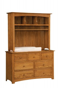 "OLD TOWN OAK - Monterey 7 Drawer Dresser w/ Hutch Top - Dimensions: Dresser only size 56""w x 34""h x 19""d, Hutch Top: 51.5""w x 43""h x 15.5""d"