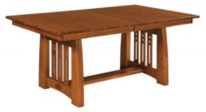 WEST POINT - Jamestown Trestle Table - Dimensions (in inches): 42x60, 42x66, 42x72, 48x60, 48x66, or 48x72 with up to 4 leaves - Custom finish options available, please see store for details.